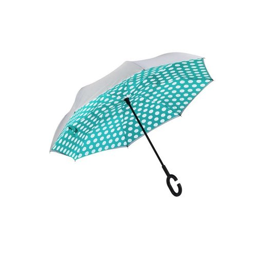 Polka Dot Inverted Umbrella, Mint/Gray