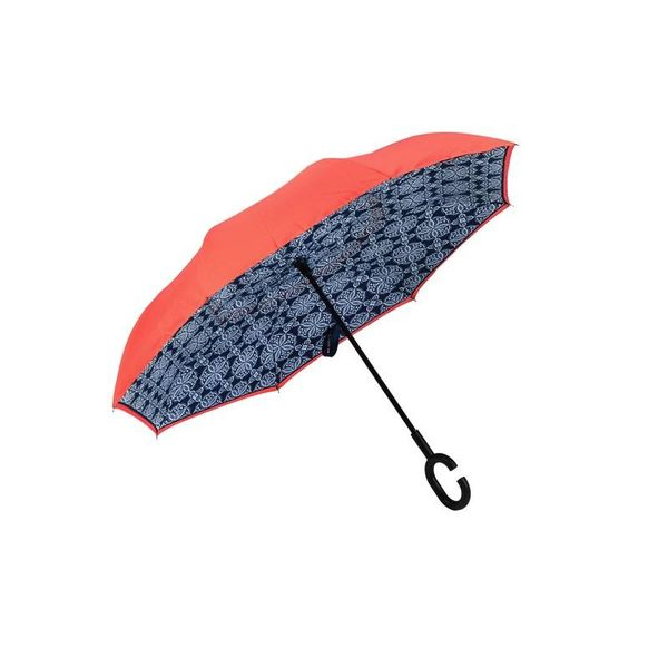 Medallion Inverted Umbrella, Navy/Coral