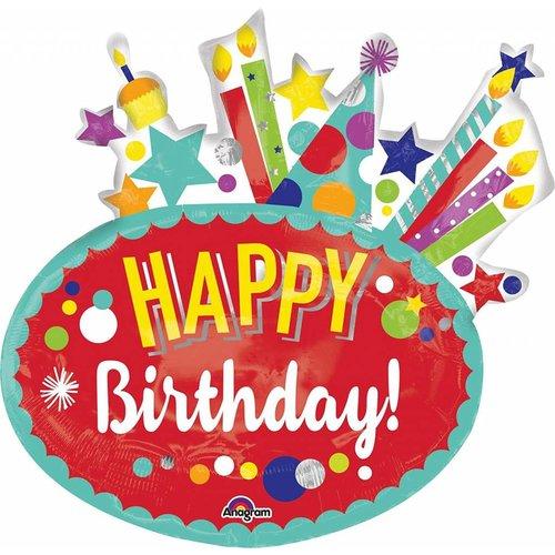 """*Festive Birthday Jumbo 30"""" Mylar Balloon"""