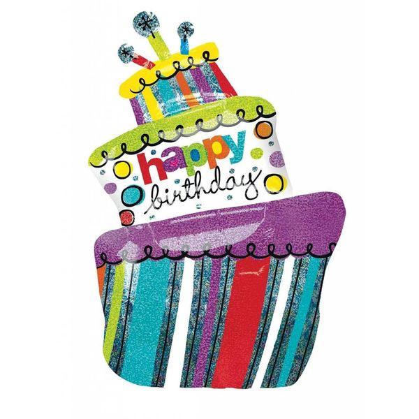Funky Birthday Cake Jumbo 37 Holographic Mylar Balloon