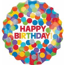 "*Holographic Primary Dots Birthday Jumbo 28"" Mylar Balloon"