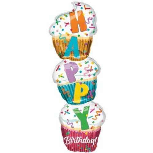 "*Birthday Stacked Cupcakes 41"" Super Shape Mylar Balloon"