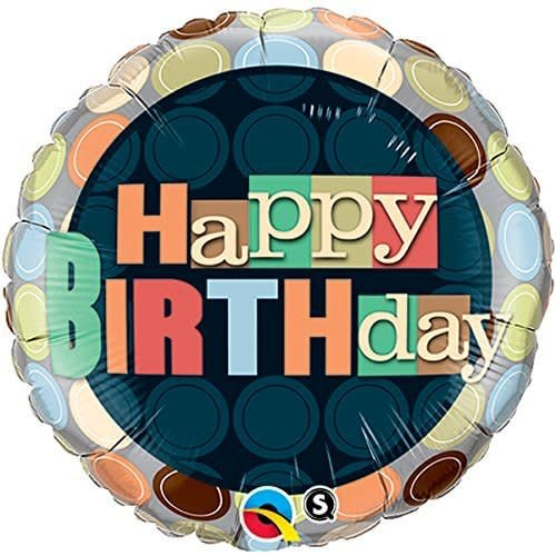 "*Birthday Dots 18"" Mylar Balloon"