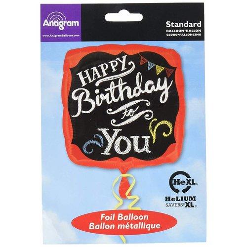 "*Chalkboard Birthday 17"" Square Mylar Balloon"