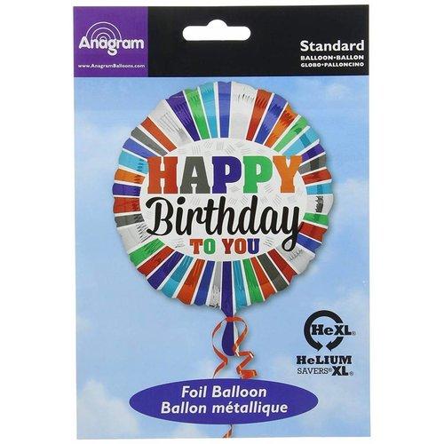"""*Happy Birthday to You Stripes 17"""" Mylar Balloon"""