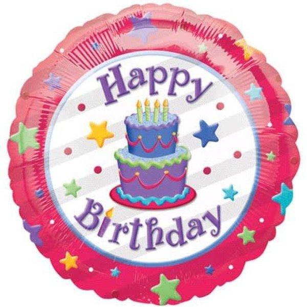Birthday Cake And Stars 18 Mylar Balloon