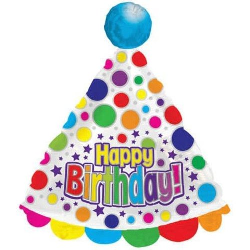 *White Birthday Party Hat Super Shape Mylar Balloon