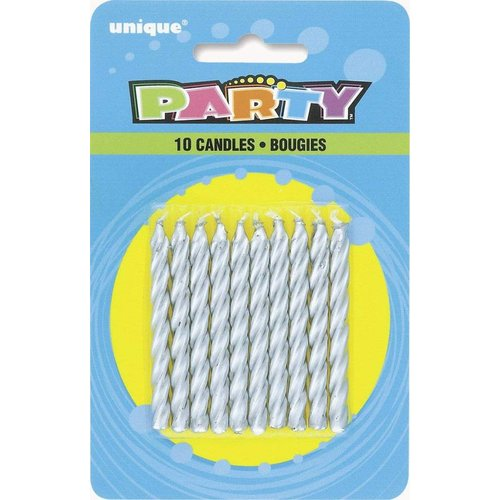 *Silver Spiral Birthday Candles 10ct