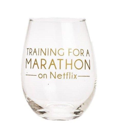 EverEllis Training for a Marathon Netflix Stemless Wine Glass