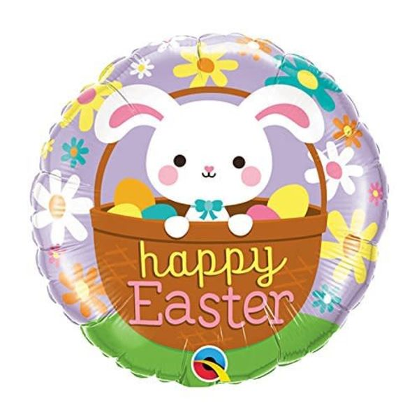 "*Easter Bunny in Basket 18"" Mylar Balloon"