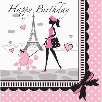 *Party in Paris Birthday Lunch Napkin 18ct