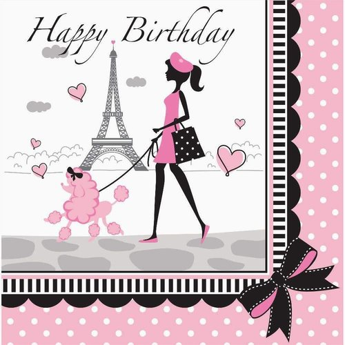 *Party in Paris Birthday Lunch Napkin 18ct