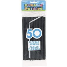 *Black 50ct Plastic Flex Straws