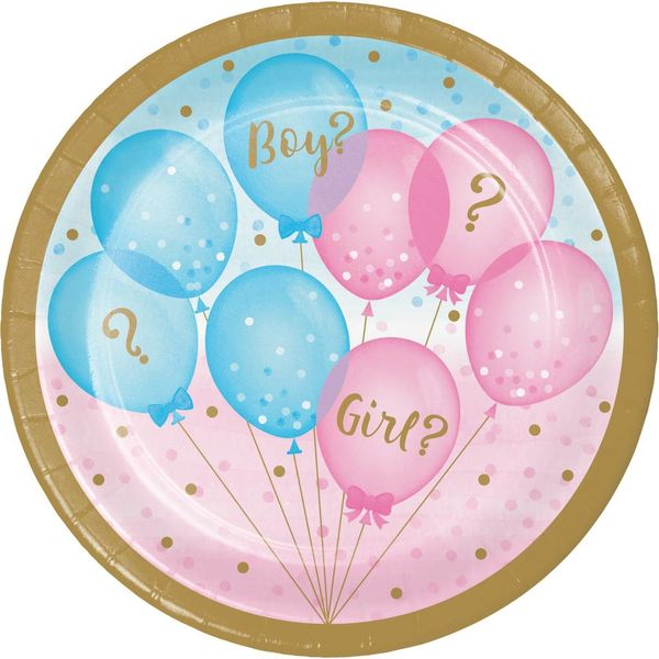 "*Gender Reveal Balloons 7"" Dessert Plates 8ct"