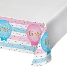 *Gender Reveal Balloons Plastic Tablecover