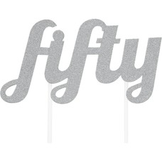 Fifty Silver Cake Topper