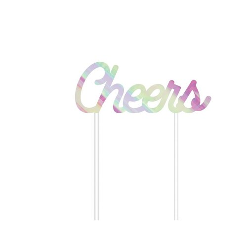 Cheers Iridescent Cake Topper
