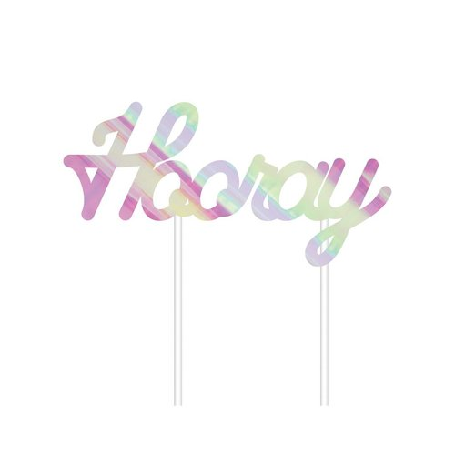 """Hooray"" Iridescent Cake Topper"