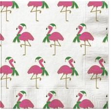 Flamingo Holiday Scarf Beverage Napkin