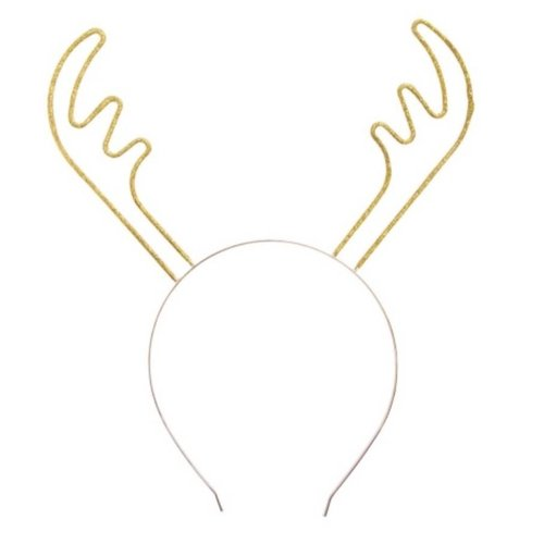 Gold Sparkle Reindeer Antler Headband