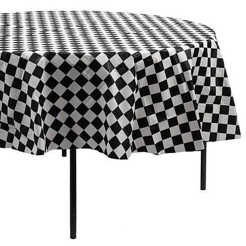 "*Black & White Check 82"" Round Plastic Tablecover"