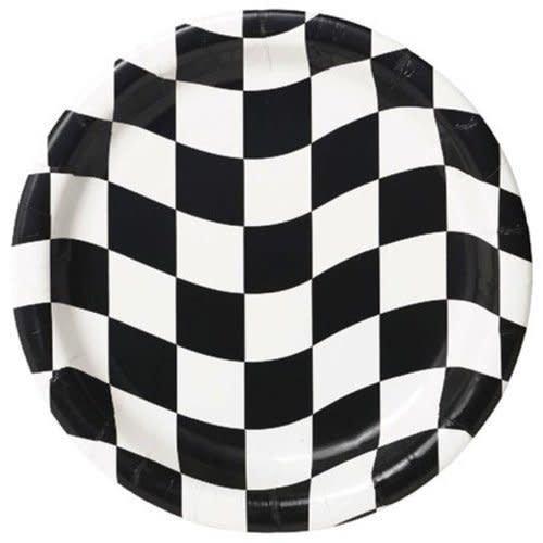 """*Black & White Checks 7"""" Dessert Plates 8ct"""