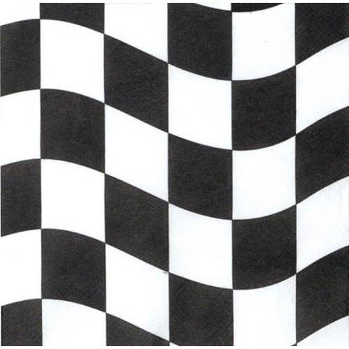 *Black & White Checks Beverage Napkins 18ct