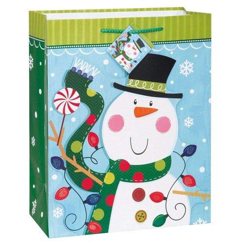 *Christmas 3D Snowman Glitter Large Gift Bag