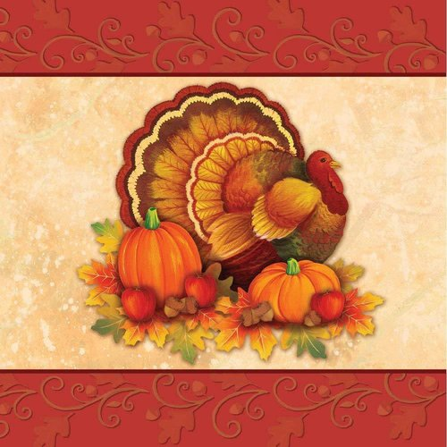 **Thanksgiving Scroll Lunch Napkins 16ct