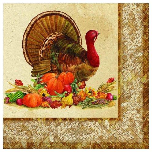 **Rustic Turkey Lunch Napkin 16ct