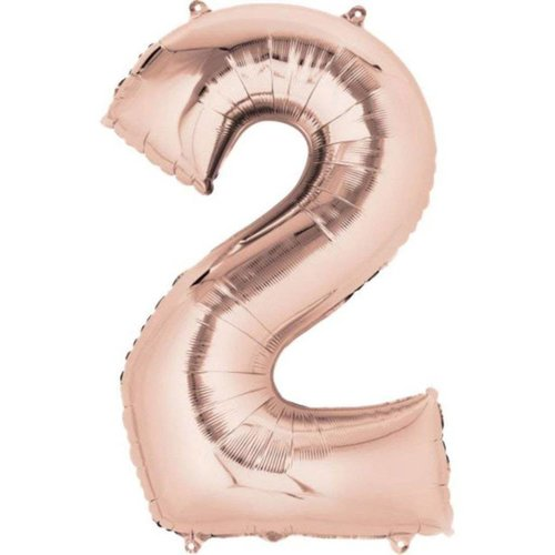 """*Rose Gold Number 2 Two Balloon 33"""" Tall"""