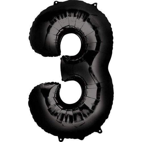 "*Black Number 3 Three Balloon 34"" Tall"