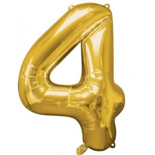 "*Gold Number 4 Four Balloon 36"" Tall"