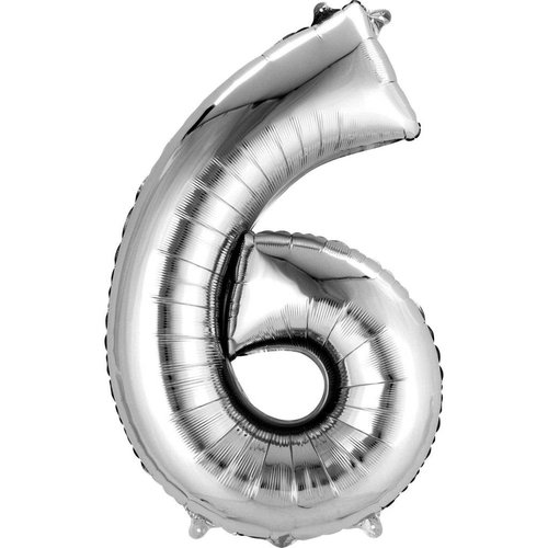 """*Silver Number 6 Six Balloon 34"""" Tall"""