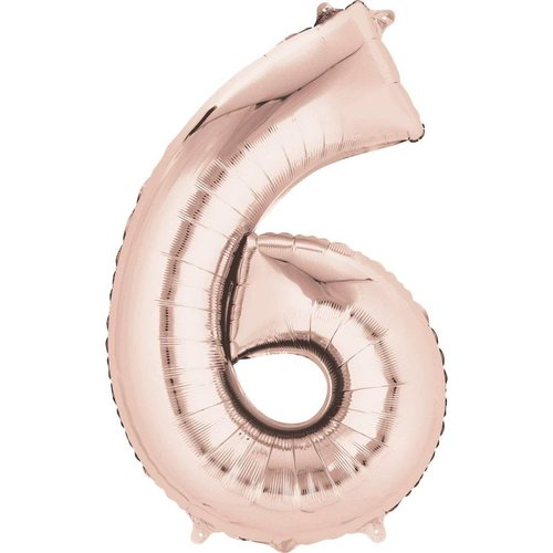 "*Rose Gold Number 6 Six Balloon 34"" Tall"
