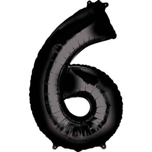 "*Black Number 6 Six Balloon 34"" Tall"