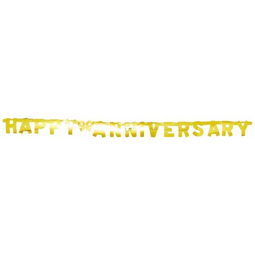 "Gold ""Happy Anniversary"" Jointed Banner"