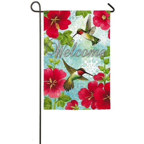 Hummingbird and Hollyhock Garden Sub Suede Flag