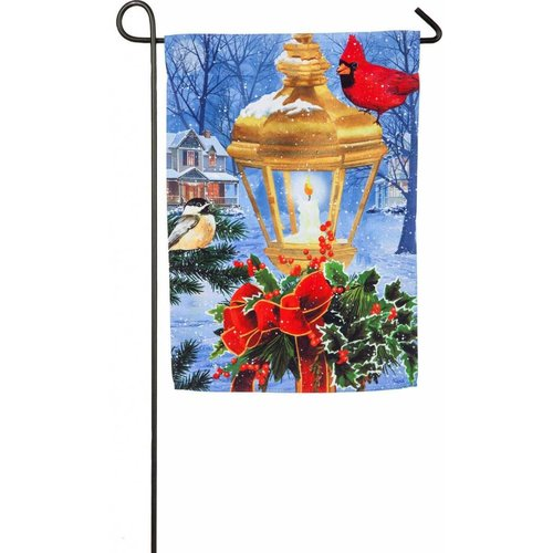 Birds on Post Christmas Garden Suede Flag