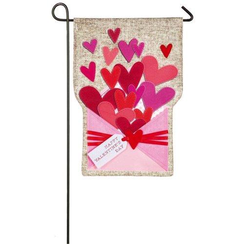Envelope of Wishes Valentine Garden Linen Flag