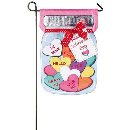Valentine's Candy Jar Linen Garden Flag