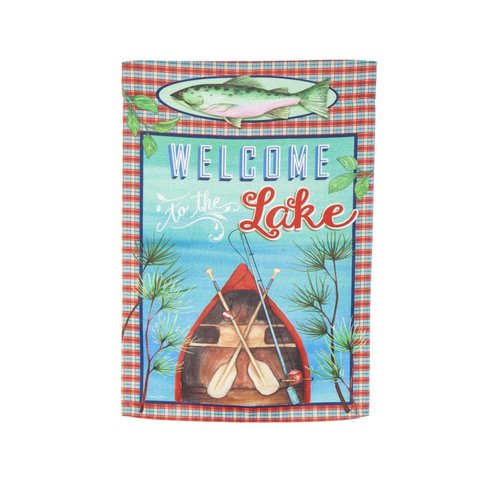 Welcome to the Lake Suede Garden Flag