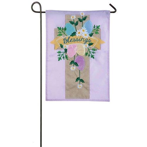 Easter Cross Applique Garden Flag