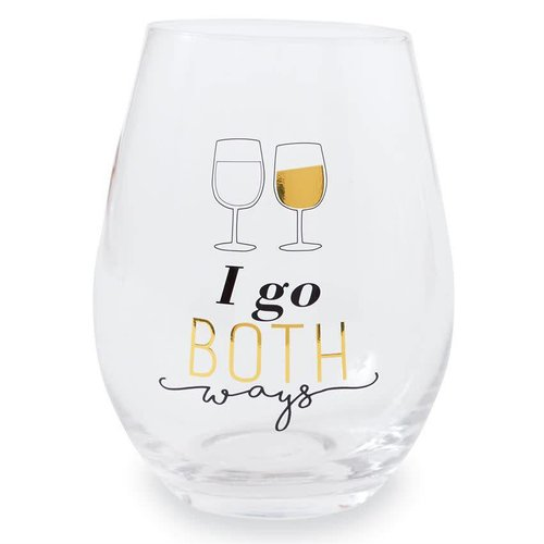 I Go Both Ways Stemless Wine Glass