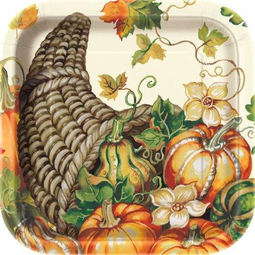Harvest Pumpkins 9in Square Plate