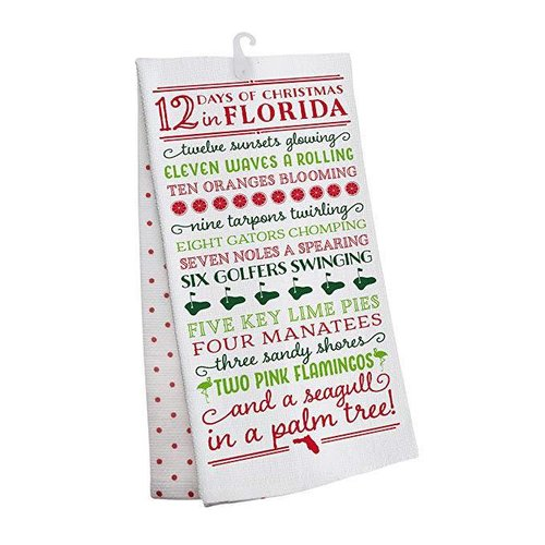 Occasionally Made 12 Days of Christmas in Florida Tea Towel