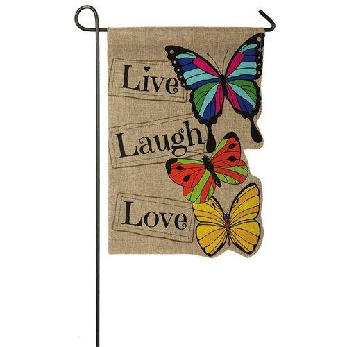 Live Laugh Love Garden Burlap Flag