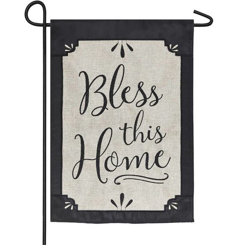 Bless This Home Garden Burlap Flag