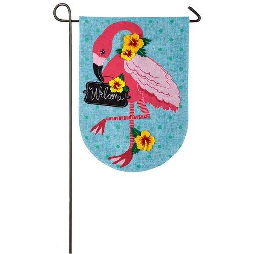 Flamingo Garden Burlap Flag