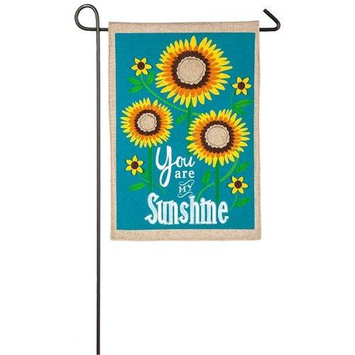 Sunflower Welcome Garden Burlap Flag